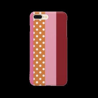orange_honeyのストライプと水玉 4 Smartphone cases
