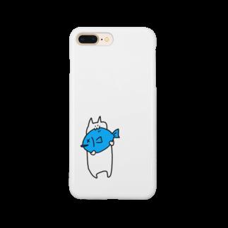 豆腐[ 'ω' ]の青い魚食べるねこ Smartphone cases