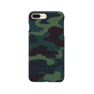迷彩柄(ブルー) Smartphone cases