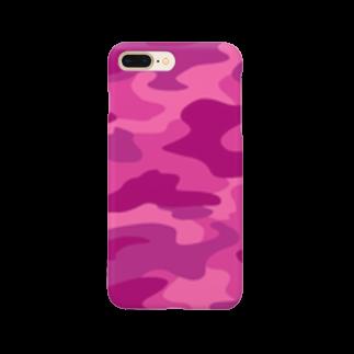 みや猫の迷彩柄(ピンク) Smartphone cases
