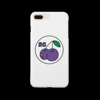 PEACHY CHERRYのPEACHY CHERRY purple/white phone case Smartphone cases