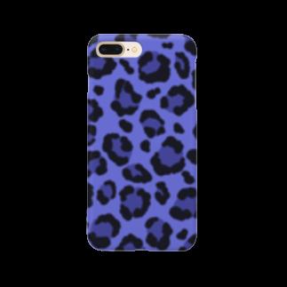 みや猫のヒョウ柄(ブルー) Smartphone cases