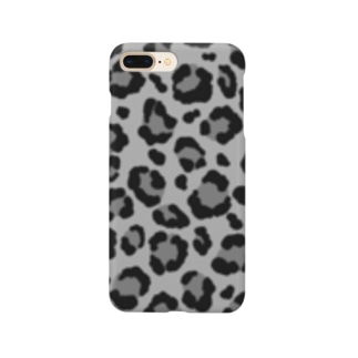 ヒョウ柄(モノクロ) Smartphone cases