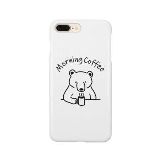 モーニングコーヒー クマ 熊 動物イラストアーチロゴ Smartphone cases