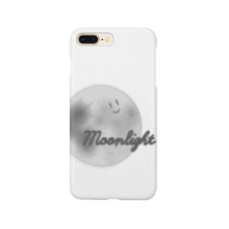 顔つき月【モノクロ】 Smartphone cases