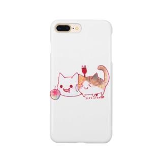 ねこさんと三毛猫とリンゴ Smartphone cases