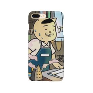 クリーニングで働く猫五郎さん Smartphone cases