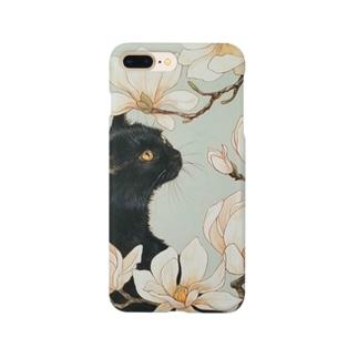 おちょぴの白木蓮と黒猫 Smartphone cases