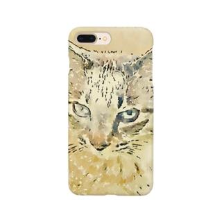 眠いトラ猫マーブル Smartphone cases