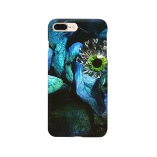 青いバラと目玉 Smartphone cases