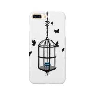 籠の中の花 青 Smartphone cases