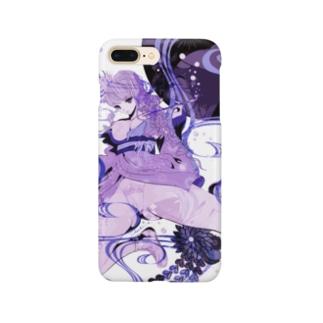 和柄 青の金魚姫3 藤紫 キモノガール Smartphone cases