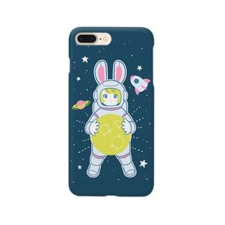 うさぎの宇宙飛行士とお月様。 Smartphone cases