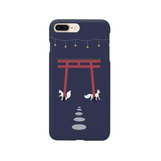 鳥居と狐 Smartphone cases