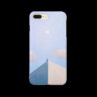 三上 唯の【スマートフォンケース】白い月 Smartphone cases
