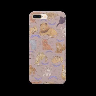 ルルエチュードのネコカスケッチ(ピンクベージュ) Smartphone cases