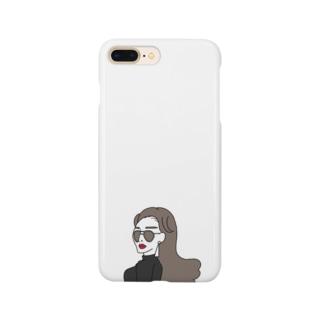 ツーブリッジサングラスの女性 Smartphone cases
