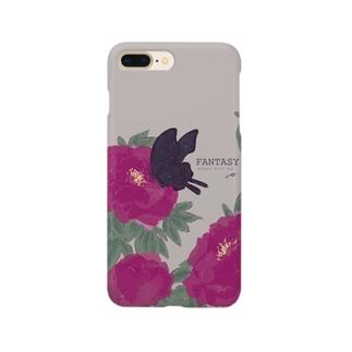 牡丹と黒揚羽 Smartphone cases