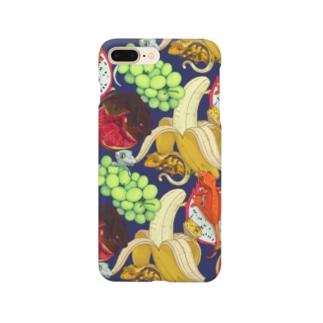 クレステッドゲッコー×フルーツ盛り合わせ(ネイビー) Smartphone Case