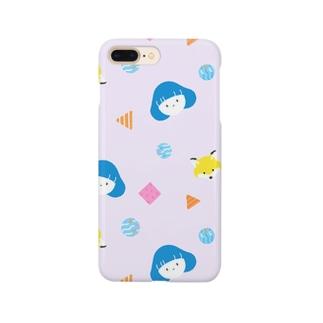 きつねと女の子:スマホケース [ラベンダー] Smartphone cases