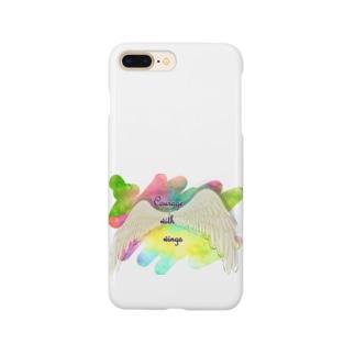 勇気を翼に★天使の羽★癒しカラー Smartphone cases