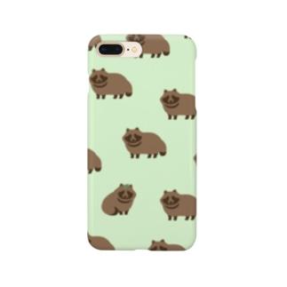 草っ原のたくさんたぬきくん グリーン Smartphone cases
