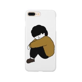 体育座りの男の子 Smartphone cases