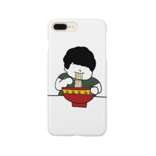 ラーメンをすする男の子 Smartphone cases