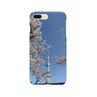 スカイツリーと隅田川の桜 Smartphone cases