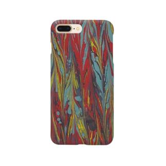 マーブル模様 赤黒 Smartphone cases