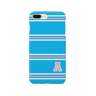"college""A"" blue×pink Smartphone cases"