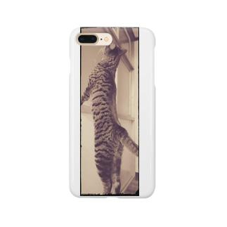 背伸びにゃんこ Smartphone cases