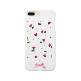 花柄パールリボン Smartphone cases
