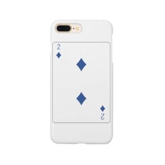 トランプ-ダイヤ-2-Blue-右上 Smartphone cases