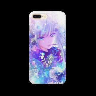 VenustaのFlower&Girl-Blue- Smartphone cases
