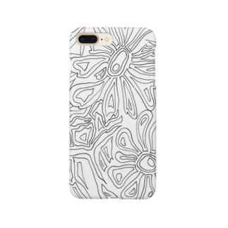 モノトーンフラワー Smartphone cases