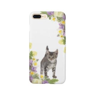 猫とお花 Smartphone cases