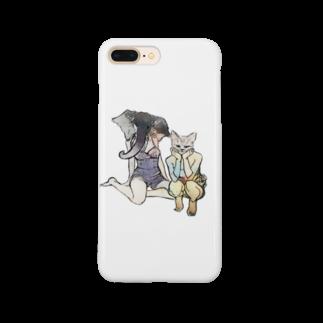無難しめじのゾウとネコ Smartphone cases