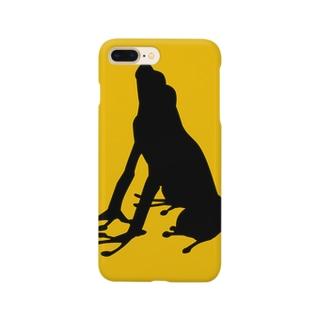 カエルシルエット(イエロー) Smartphone cases