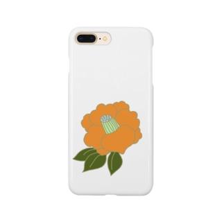 椿 オレンジ Smartphone cases