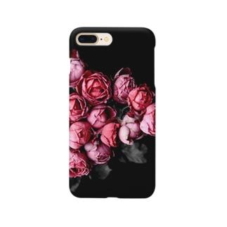 ローズ(黒にピンク) Smartphone cases