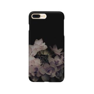 アジサイ(黒に紫) Smartphone cases