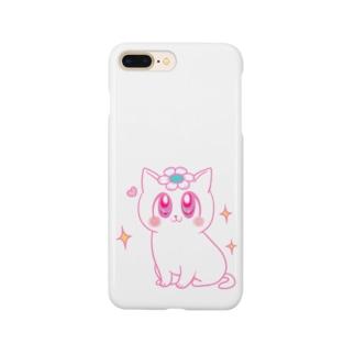 ピンクの花猫ちゃん Smartphone cases