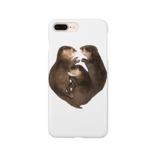 ハート型お眠り子カワウソ Smartphone cases