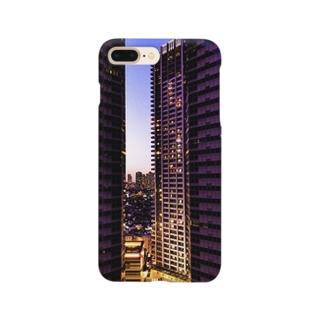 高層ビル群、夜景 Smartphone cases