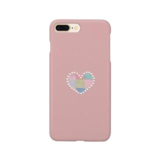 パッチワーク&パールハート(ピンク) Smartphone cases