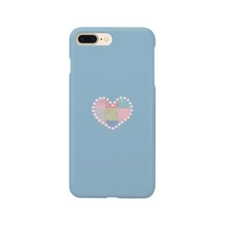パッチワーク&パールハート(水色) Smartphone Case