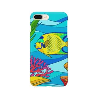トモカワ ヒロサキ デザインショップのクイーンエンゼルフィッシュ-カラフル Smartphone cases
