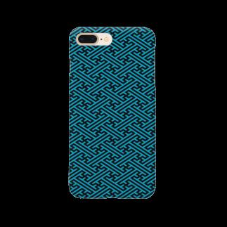 gemgemshopの紗綾型文様 さやがた文様 青黒 Smartphone cases
