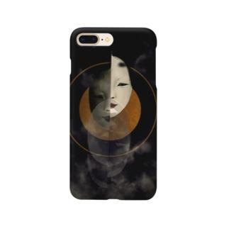「月と小面」 Smartphone cases